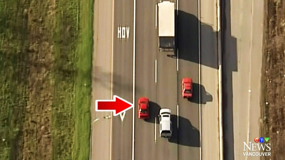 A vehicle is shown driving slowly in the left lane on a B.C. highway in this image from CTV Vancouver.