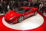 The New Ferrari 488 GTB is on display during the press day at the 85. Geneva International Motor Show in Geneva, Switzerland, Tuesday, March 3, 2015. (AP Photo/Keystone,Sandro Campardo)