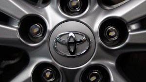 Toyota logo on a wheel at the automaker's Tokyo headquarters, on Aug. 2, 2011. (AP / Shizuo Kambayashi)