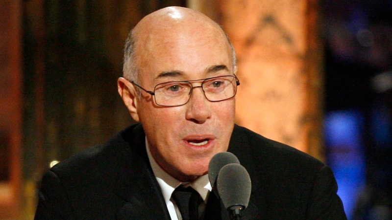 Music and movie mogul David Geffen speaks during the Rock and Roll Hall of Fame induction ceremony in New York in this March 15, 2010 file photo. (AP / Jason DeCrow)