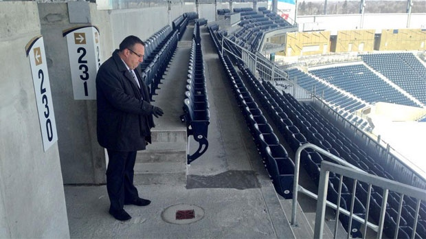 Andrew Konowalchuk from Triple B said they added drains in seating areas after none were included during the original construction of Investors Group Field.