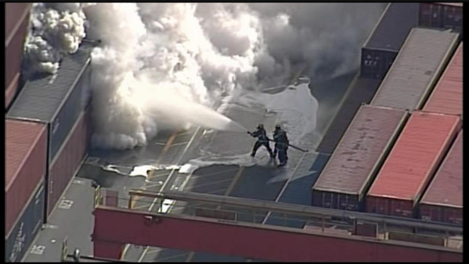 Crews battle a shipping container fire at the Port of Metro Vancouver, Wed., March 4, 2015. (CTV's Chopper 9)
