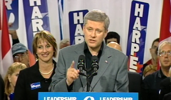 Conservative Leader Stephen Harper addresses a crowd of supporters during a campaign stop in Guelph, Ont., Saturday, Oct. 11, 2008