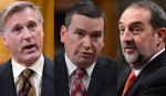 Cabinet ministers Maxime Bernier, Christian Paradis and Denis Lebel are seen in this compilation image.