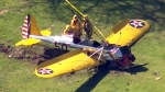 Small plane crash lands on a golf course near the Santa Monica Municipal Airport, critically injuring the pilot.