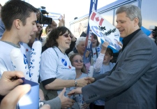 Conservative Party leader Stephen Harper greets supporters at a campaign rally in Quebec City, Quebec, Sunday Oct 12, 2008. (Tom Hanson / THE CANADIAN PRESS)