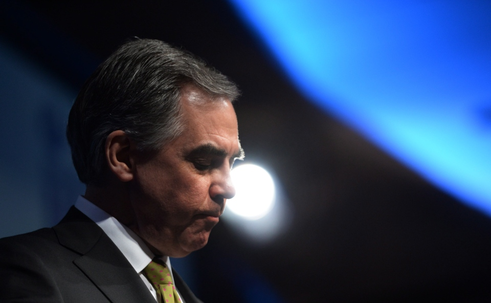 Alberta Premier Jim Prentice pauses as he speaks during the Manning Networking Conference in Ottawa on Friday, March 6, 2015. (Sean Kilpatrick / THE CANADIAN PRESS)