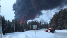 Train derailment on Highway 144