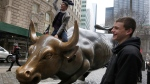 The 'Charging Bull' sculpture, by artist Arturo Di Modica, in New York's Financial District. (AP Photo/Richard Drew)