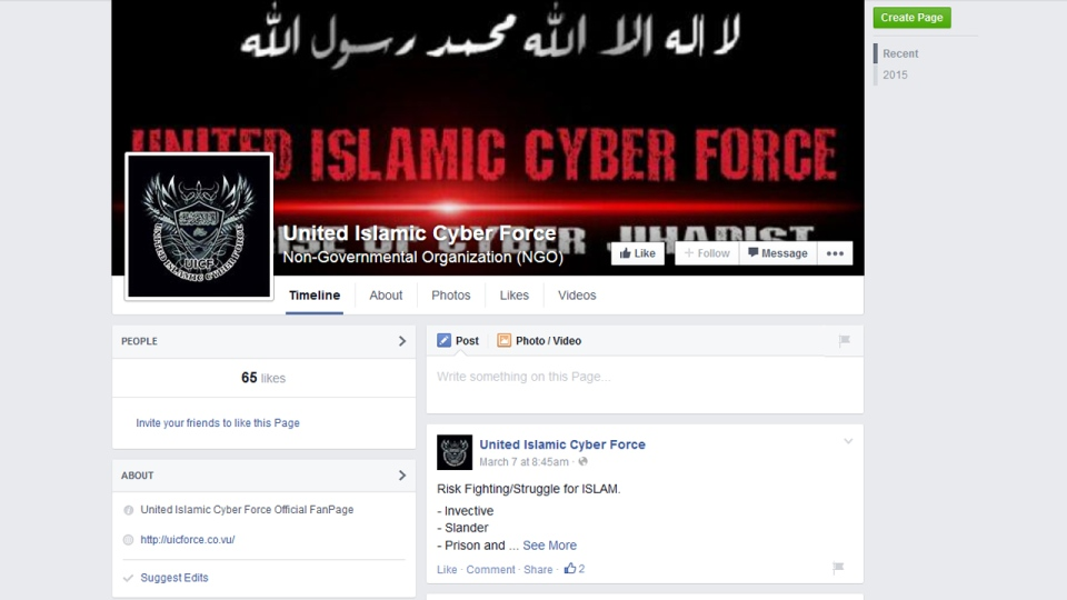 Hackers link to their Facebook page
