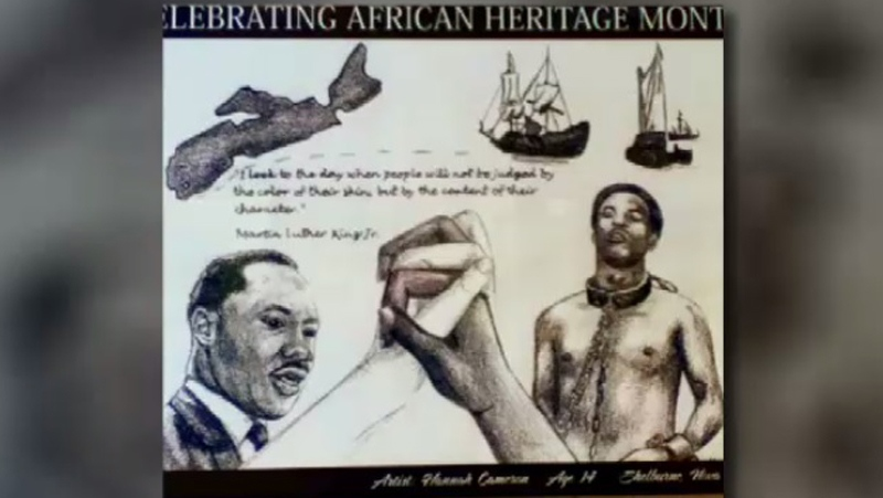 "This poster, titled ""Celebrating African Heritage Month"", was removed from a Shelburne, N.S. high school."