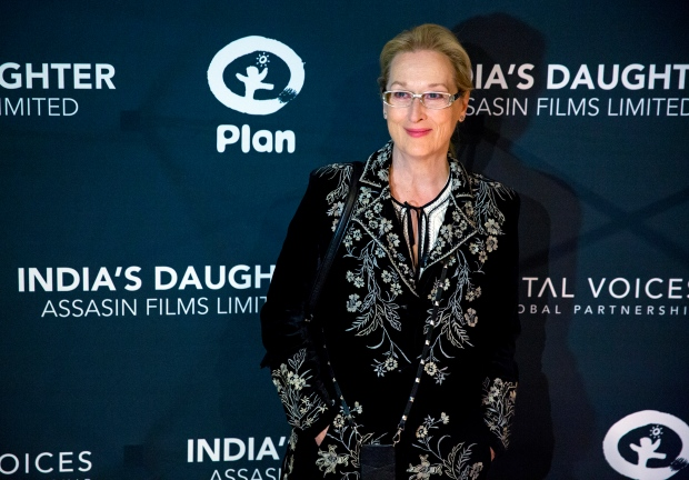 Actress Meryl Streep arrives for the premiere of the film 'India's Daughter' at Baruch College in New York, Monday, March 9, 2015. (AP / Craig Ruttle)