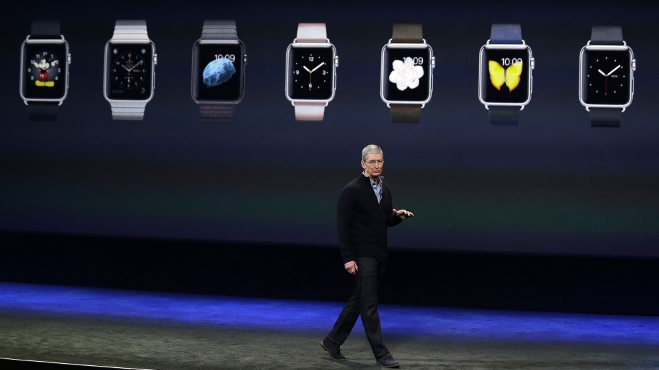 Apple CEO Tim Cook talks about the new Apple Watch during an Apple event in San Francisco on Monday, March 9, 2015. (AP / Eric Risberg)