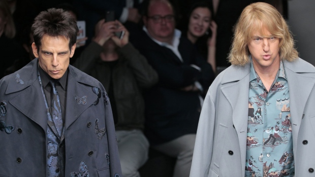 Actors Ben Stiller, left, and Owen Wilson wear creations for Valentino&#39;s ready-to-wear fall-winter 2015-2016 fashion collection presented during the Paris fashion week, in Paris, France, Tuesday, March 10, 2015.(AP / Jacques Brinon) <br><br> From Valentino to Ben Stiller and Owen Wilson: Celebrities, designers, models and fashion connoisseurs descend upon Paris for Fashion Week.