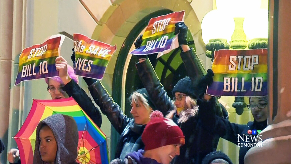 Controversial Bill 10 unanimously passed third reading in the Alberta legislature on Tuesday, paving the way for gay-straight alliances to be established in all of the province's schools.