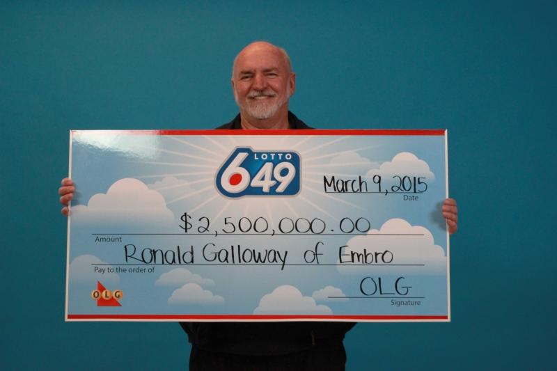 Lotto 6/49 winner Ronald Galloway won a $2.5-million Lotto 6/49 jackpot. (Ontario Lottery and Gaming Corp.)
