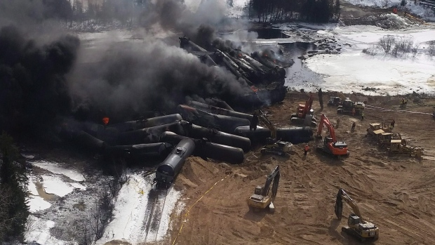 A CN Rail train derailment near Gogama, Ont., is shown on Sunday, March 8, 2015. (THE CANADIAN PRESS / HO - Glenn Thibeault)