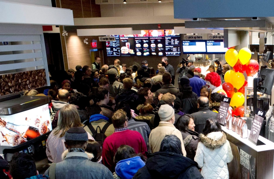 Hundreds of guests line up at the largest McDonald's restaurant in Ontario, in Toronto, Tuesday, November 26, 2013. (McDonald's Restaurants of Canada Limited)