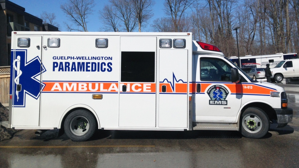 A Guelph-Wellington EMS ambulance is seen in this photo from Wednesday, March 11, 2015. (David Imrie / CTV Kitchener)