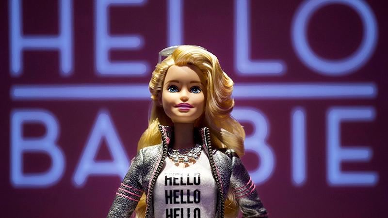 Hello Barbie is displayed at the Mattel showroom at the North American International Toy Fair, Saturday, Feb. 14, 2015 in New York.  (AP / Mark Lennihan)
