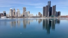 A view of the Detroit River and the Detroit skyline from Windsor, Ont., March 13, 2015. (Michelle Maluske/CTV Windsor)