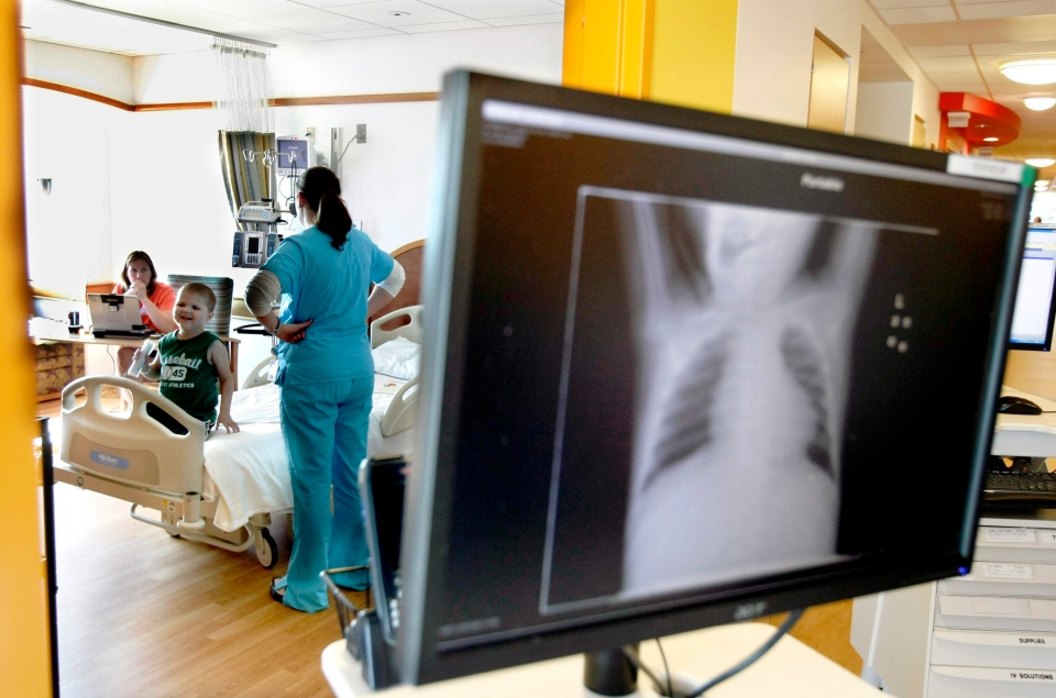 A chest X-ray can be seen at the Children's Hospital in Pittsburgh, Pa., in this 2009 file photo. (AP / Keith Srakocic)
