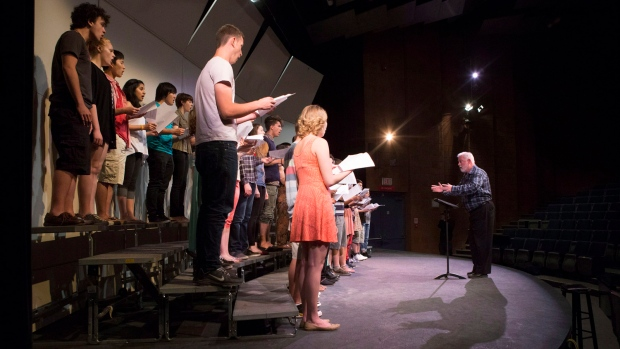 Secondary school students sing in Peel Region