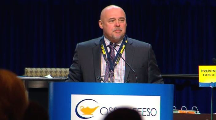 Paul Elliot speaks at the OSSTF annual general meeting in Toronto on Saturday March 14, 2015.