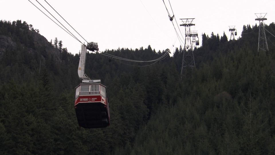 A red Super Skyride tram is shown at Grouse Mountain in North Vancouver, B.C. in this undated file photo. (CTV)