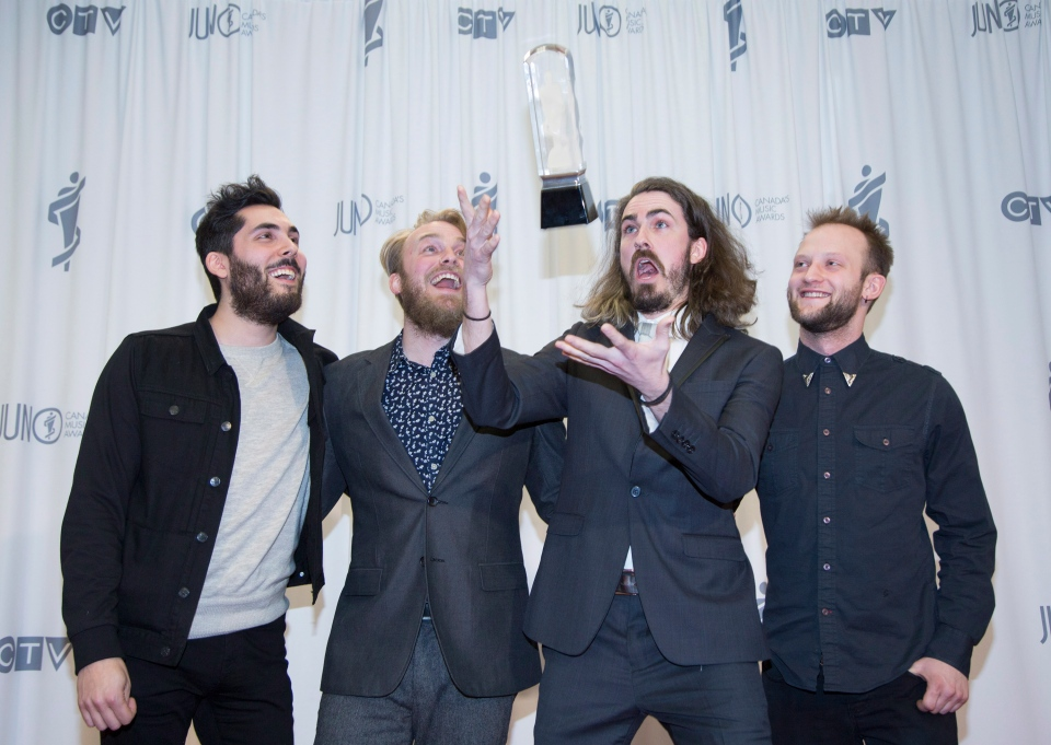 The Brothers Landreth backstage after winning Roots and Traditional Album of the Year during the JUNO Gala Dinner and Awards in Hamilton on Saturday, March 14, 2015. (Peter Power / THE CANADIAN PRESS)