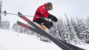 Pierre Marc Jette skis on Whistler mountain in Whistler, B.C. Thursday, March. 12, 2015. (Jonathan Hayward / THE CANADIAN PRESS)
