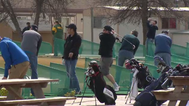 Golfers were swinging away at Shooters Family Golf Centre on north Main Street on Sunday.