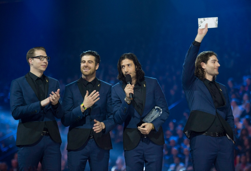 Magic! receives the Juno for Single of the Year during the 2015 Juno Awards in Hamilton, Ont., on Sunday, March 15, 2015. (Nathan Denette / THE CANADIAN PRESS)