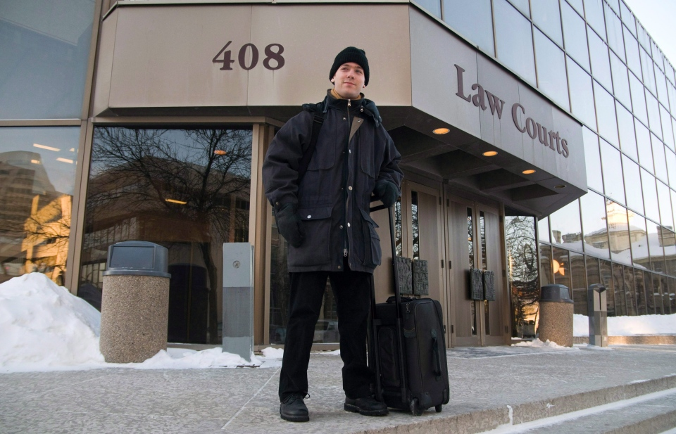 Gabor Lukacs stands outside of the Manitoba law courts in Winnipeg in this Jan. 20, 2011 file photo. (David Lipnowski / THE CANADIAN PRESS)