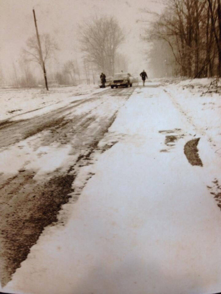 An old photo shows the area where the body of Karen Caughlin was found - in a shallow ditch by a gravel road northwest of Petrolia - on March 16, 1974. (Daryl Newcombe / CTV London)