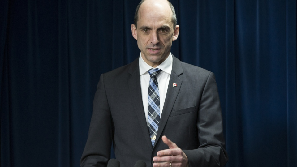 Minister of Public Safety and Emergency Preparedness Steven Blaney speaks in Washington, Monday, March 16, 2015. (AP / Evan Vucci)