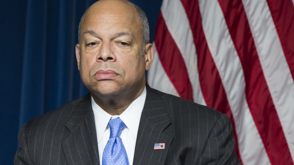U.S. Homeland Security Secretary Jeh Johnson pauses during a ceremony in Washington, Monday, March 16, 2015. (AP / Evan Vucci)