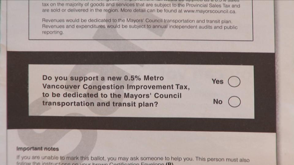 Transit referendum ballot