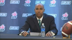 Jeffrey Orridge is shown at a press conference announcing his appointment as the next commissioner of the CFL.
