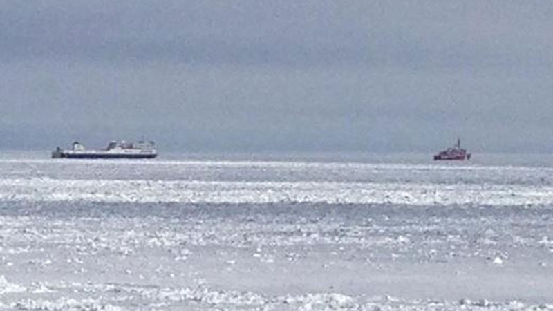 ferry stuck in ice