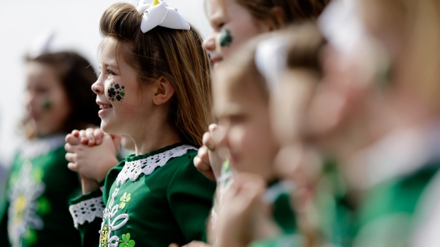 Children perform during a ceremony marking St. Patrick's Day Tuesday, March 17, 2015, at the Irish Memorial in Philadelphia. (AP / Matt Rourke)