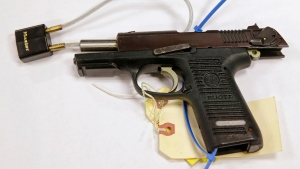 A Ruger pistol that was shown during the Dzhokhar Tsarnaev trial in Boston, on Tuesday, March 17, 2015. (AP Photo/Charles Krupa)