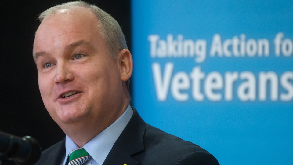 Minister of Veterans Affairs Erin O'Toole announces improved benefits for veterans and their families, during a news conference in Vancouver, B.C., on Tuesday, March 17, 2015.  (Darryl Dyck / THE CANADIAN PRESS)