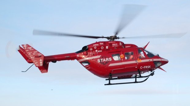 STARS Air Ambulance was used to transport a cyclist in his 70s to hospital following a crash on Highway 1 near Canmore.(File photo)
