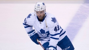 Toronto Maple Leafs centre Nazem Kadri (43) takes part in the pre-game skate prior to the first period of NHL action against the Vancouver Canucks in Vancouver, Saturday, March 14, 2015. (Jonathan Hayward / THE CANADIAN PRESS)