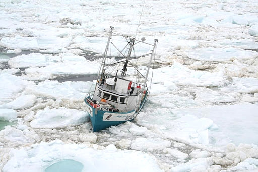 The Andy Rover is ice-bound off Newfoundland's northeast coast as seen in this image made available by the Coast Guard.