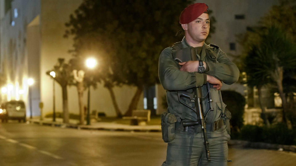 A Tunisian soldier stands guard outside the National Bardo Museum in Tunis, Wednesday, March 18, 2015. (AP / Michel Euler)