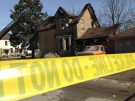 Damage can be seen to a home following a fatal fire in Woodstock, Ont. on Thursday, March 19, 2015. (Shelden Rogers for CTV London)