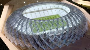 In this Sept. 16, 2010 file photo, Qatar presents a model of its Al-Wakrah stadium, as the host of the 2022 World Cup, in Doha, Qatar. (Osama Faisal / AP Photo)