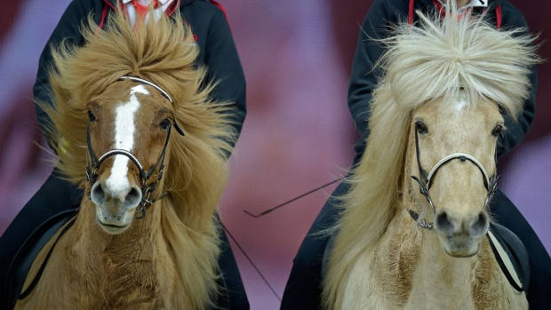 Horses with flying manes perform at the equestrian sports world fair Equitana in Essen, Germany, Friday, March 20, 2015. (AP / Martin Meissner)